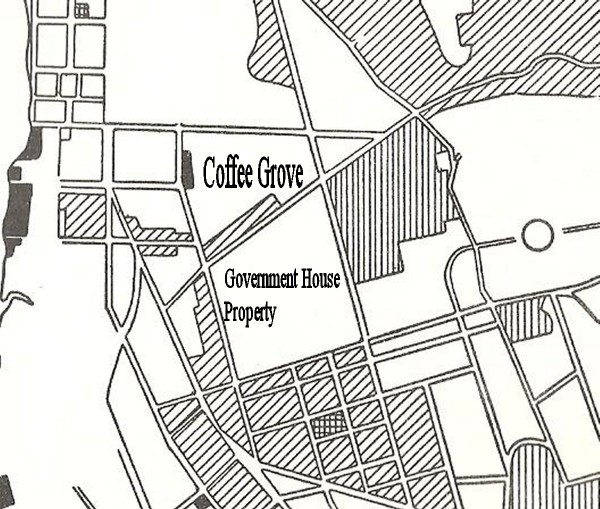 Map of northwest Rangoon. Coffee Grove marked by me.