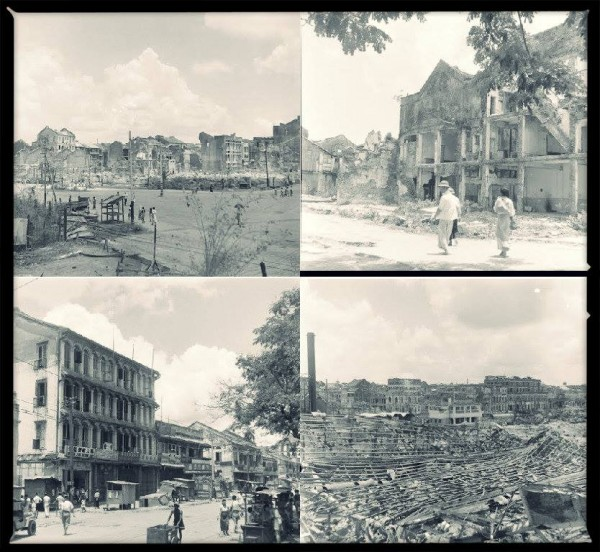 Rangoon in 1945, after bombing by the Allies and the Japanese