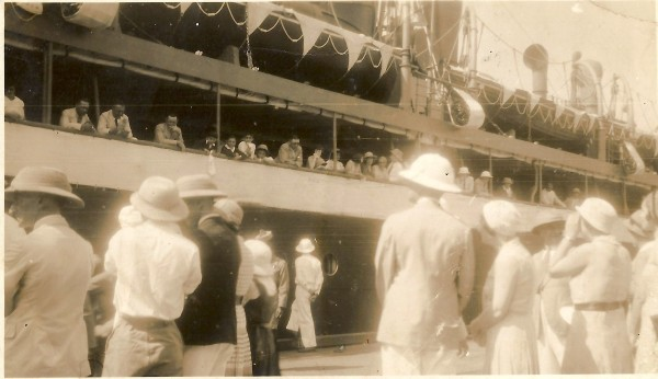 Waving bye-bye to Dad and Arthur from Rangoon docks, March 1933