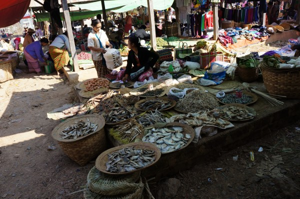 Dried fish at a market on Inle Lake, Burma