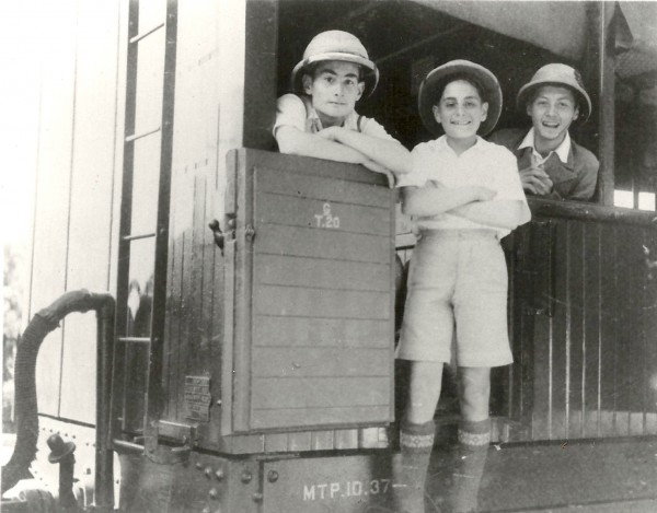 Arthur, Norman and a friend on the Toy Train in Lovedale. December 17th,1937. Dad turned 15 the next day.