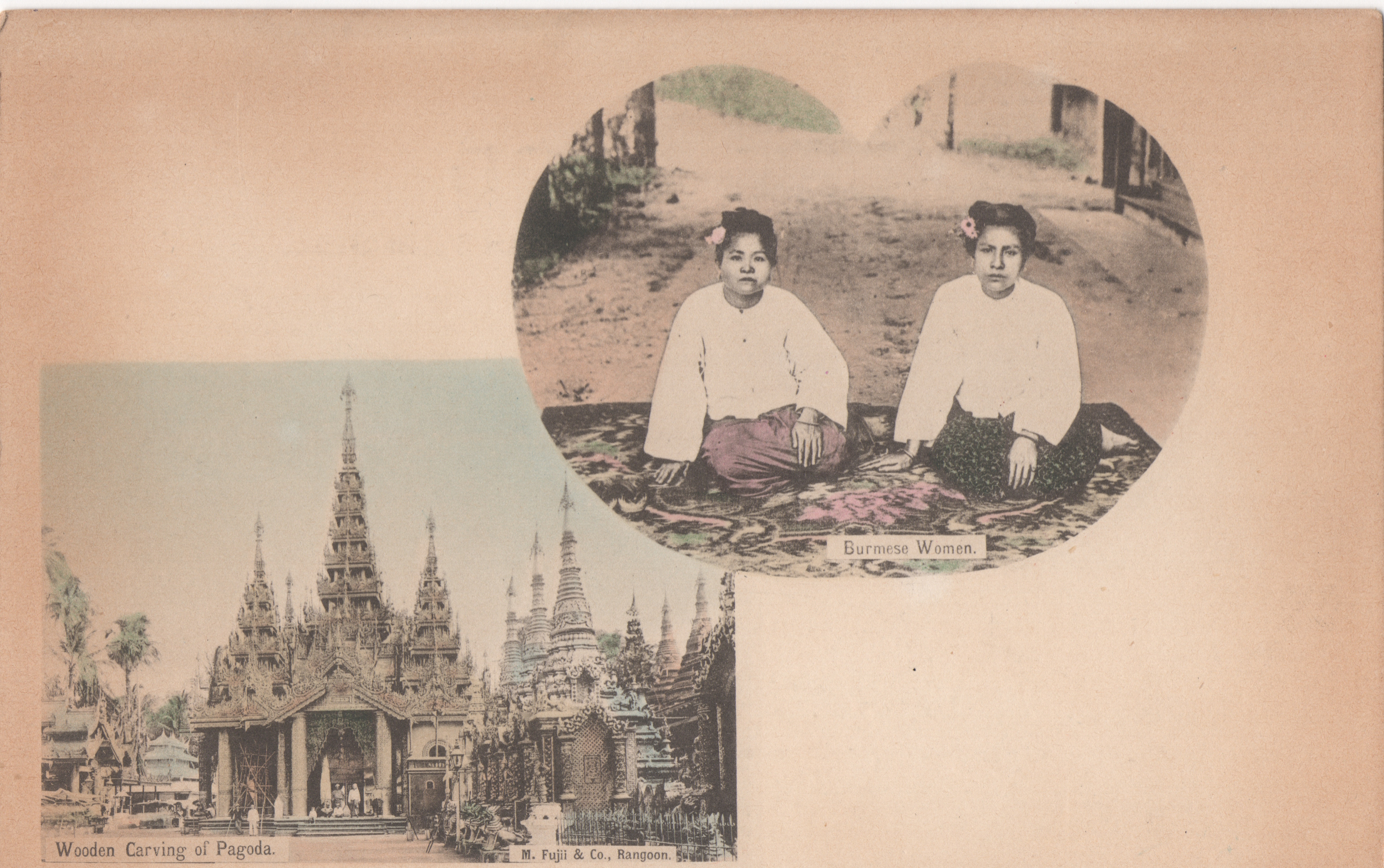 The heart shaped cartouche is unusual for these multi view types of postcards.